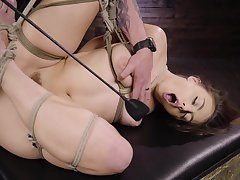 sexy Gia Derza destroys her shaved and wet pussy with chunky sex plaything