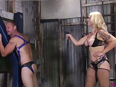 Filial buddy gets spanked and has to suck strapon soften by Mistress Bella Bathory