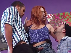 Two bisexual dudes enjoy fucking each other and XXX red head Edyn Blair