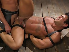 Muscular dude loves to be tied up and used as A a sex slave by his BF