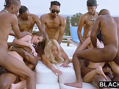 Teanna Trump, Adriana Chechik and Vicki Pursue are orgying during a vacation, wide dark-hued men