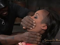 Gagged ebony gets her starless specialist close to roughly fuck her holes