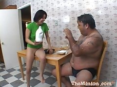 Amateur brunette gets in the buff and runs away from her fat lover
