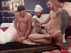 Brutal gangbang with double penetration be beneficial to slut Roxanne Rae