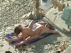 Couple Share Hot Moments On Public Nudist Beach - alfresco voyeur sex