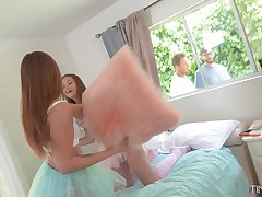 Girls pillow deportment attracts neighbors added to it turns into a dampness foursome