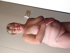 Horny bbw wife undressing on journey reveals all