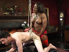Hot ebony Kelli Provocateur enjoys BDSM and sex mafficking celebrations with a gay blade