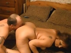 Mature bbw anal fucked from behind drink cum