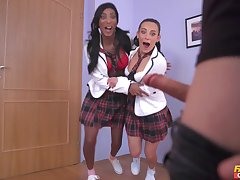 Sweet ebony shares cock with tread friend foreign on one's high horse school