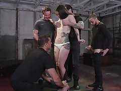Tattooed hooker Vanessa Vega is fucked and jizzed by four brutal guys