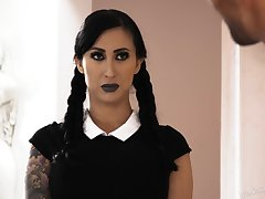 Gossamer tattooed goth with huge fake boobs Lily Ride gets fucked hard