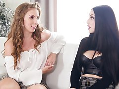 Four sexually seductive lovelies talking near their nearing lesbian movie