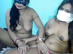 Naughty plump together with buxom amateur webcam Desi lesbians masturbate
