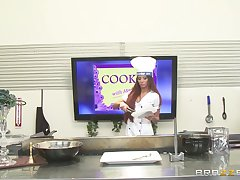 Sexy chef Madison Ivy takes a pounding detect in her mouth and pussy