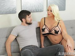 Alura is mating on legs increased by that tall MILF loves giving head
