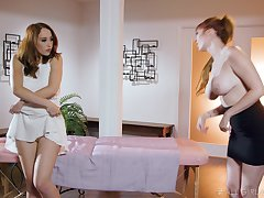 Lauren the MILF masseuse arranges a lesbian trinity readily obtainable work