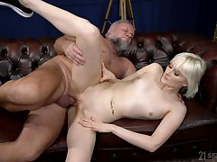 Old commissioner tries his luck with nubile blonde Miss Melissa