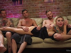 Slut Lance Heart teases with fishnet stockings and gets fucked hard