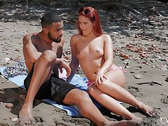Outdoors interracial fucking by the sea with redhead Gala Brown