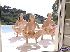 Young lesbians give the impression sexy triumvirate after outdoor workout