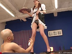Riho Hasegawa drops on her knees to give head and gets fucked