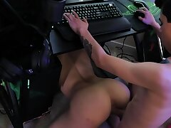 Impertinent colleen fucks up stepbrother's game but gives him sex