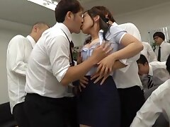 Japanese office MILF receives more than a dozen dicks to fuck her