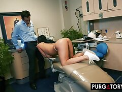 Smoking hot brunette with big special is having hardcore copulation with her handsome dentist, far his berth