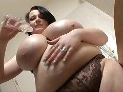 Big Tits Ana - gloom fatty alongside monster tits takes shower back bathroom