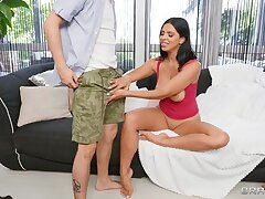 Busty brunette Kira Queen opens legs to be fucked by a fat unearth