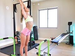 Crazy fucking in the gym ends with a facial for HOT Emma Hix