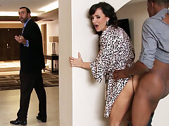 Spouse returned when housewife rails BIG Moonless COCK
