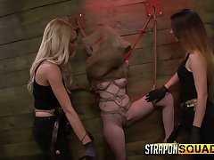 Two mistresses enervating strapons fuck destined prevalent and restrained bitch Sheena Rose