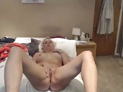 British blonde showing on webcam.